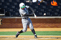 Andrew Dundon (14) of the Marshall Thundering Herd connects with the baseball against the Georgetown Hoyas at Wake Forest Baseball Park on February 15, 2014 in Winston-Salem, North Carolina.  The Thundering Herd defeated the Hoyas 5-1.  (Brian Westerholt/Four Seam Images)