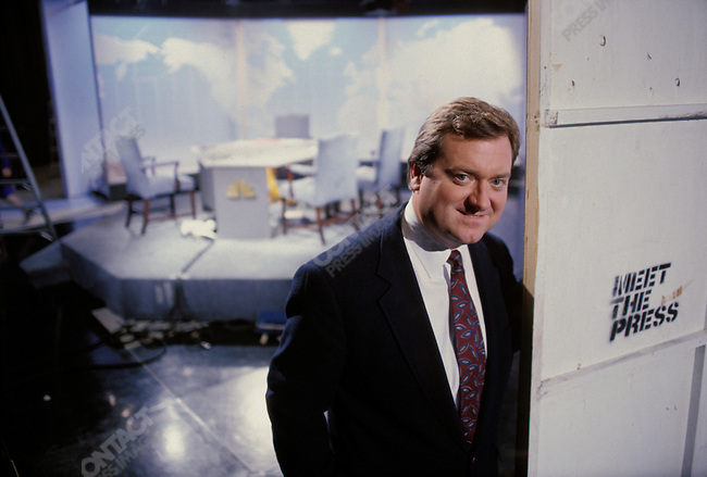 "Tim Russert, moderator of NBC's ""Meet The Press"", on set in Washington, D.C.  Novermber 1992."