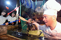 C...c..c...come dine with me in D...D...Dingle<br /> For one night only, the Penguins at the Dingle Aquarium, will play host to a pop-up restaurant as part of the forthcoming Dingle Peninsula Food &amp; Wine Festival which will take place over the weekend of the 30 September to the 2nd October 2011.  Local chefs, Kevin Murphy and Sinead Sheehy will be serving up a feast of local seafood to diners in the Penguin enclosure on the Saturday night of this gastro extravaganza which has become one of the key dates in the annual foodie calendar. The festival will also feature the 4th annual Blas na hEireann Awards where the judging of over 1,000 of the country's finest produce will culminate in a   sampling in Benner&rsquo;s Hotel. <br /> For further information click wwwdinglefood.com   <br /> Photo shows chef Kevin Murphy with Hannah Leahy and Georgina Steele fetching lobster at Dingle Oceanworld on Tuesday at the festival launch.<br /> Picture by Don MacMonagle<br /> <br />   pr photo Blas na h-Eireann awards <br /> <br /> <br /> &copy; Photo by Don MacMonagle - macmonagle.com<br /> info@macmonagle.com