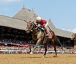 Carter Cat (no. 11), ridden by Ricardo Santana, Jr. and trained by Steven Asmussen, wins Race 1 July 28 at Saratoga Racecource, Saratoga Springs, NY.  (Bruce Dudek/Eclipse Sportswire)