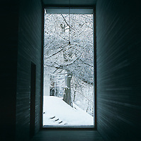 View through a floor-to-ceiling window to a tree and landscape covered in snow