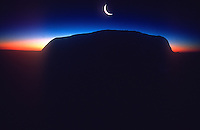 Ayers Rock with Crest moon, Uluru national Park, NT Australia