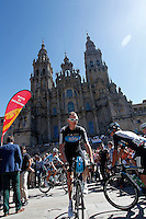 Christopher Froome passes by the front of the Obradoiro of the Cathedral of Santiago de Compostela before the stage of La Vuelta 2012 between Santiago de Compostela and Ferrol.August 31,2012. (ALTERPHOTOS/Paola Otero) /NortePhoto.com <br />