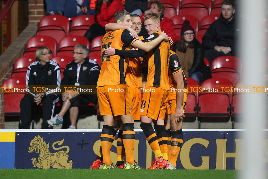 Sam Clucas of Hull City (11) scores the second goal for his team and celebrates with his team mates during Brentford vs Hull City, Sky Bet Championship Football at Griffin Park