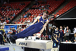 20 APR 2012: Cole Smith of the University of Illinois competes in the Pommel Horse competition during the Division I Men's Gymnastics Championship held at the Lloyd Noble Center on the University of Oklahoma campus in Norman, OK. The University of Illinois team finished in first place with a score of 358.85. Stephen Pingry/NCAA Photos