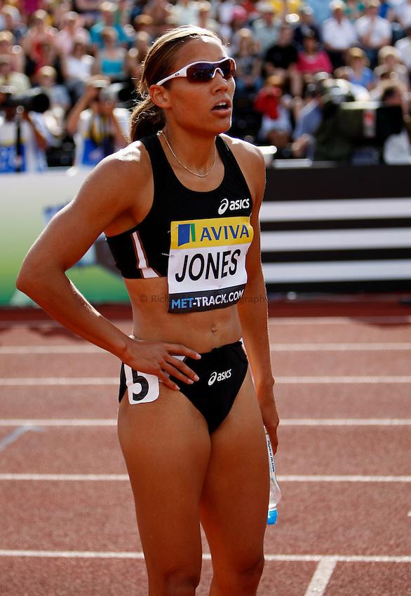 Photo: Richard Lane/Richard Lane Photography..Aviva London Grand Prix. 25/07/2009. USA's Lolo Jones after the women's 100m hurdles.