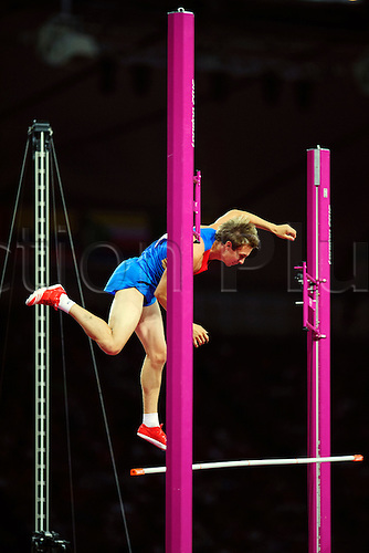 10.08.2012 London, England. Russias Dmitry Starodubtsev finishes 4th in action in the Mens Pole Vault Final during the Athletics on Day 14 of the London 2012 Olympic Games in the Olympic Stadium.