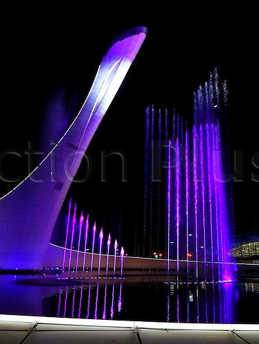 03.02.2014 Sochi, Russia.  The Olympic cauldron is lit up at night at the Olympic Park s medals plaza in the coastal cluster Olympic Park in Sochi, Russia, Feb 3, 2014. The opening ceremony for the 2014 Winter Olympics will kick off on Feb. 7 in Sochi.