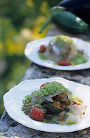"Europe/Italie/Pouille/Alberobello : Carpacio de daurade à la caponata - Recette de M. Leonardo chef du restaurant ""Il Poeta Contadino"""