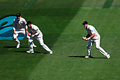 22nd March 2018, Eden Park, Auckland, New Zealand; International Test Cricket, New Zealand versus England, day 1;  Tom Latham takes a catch to dismiss Alastair Cook