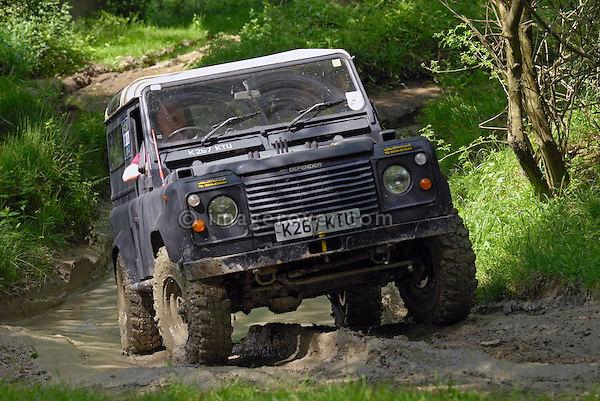 Land Rover Defender 90 competing at the ALRC National 2008 RTV Trial. The Association of Land Rover Clubs (ALRC) National Rallye is the biggest annual motor sport oriented Land Rover event and was hosted 2008 by the Midland Rover Owners Club at Eastnor Castle in Herefordshire, UK, 22 - 27 May 2008. --- No releases available. Automotive trademarks are the property of the trademark holder, authorization may be needed for some uses.