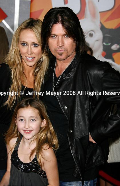 "HOLLYWOOD, CA. - November 17: Tish Cyrus, Noah Cyrus and Musician Billy Ray Cyrus arrive at the World Premiere of Walt Disney's ""Bolt"" at the El Capitan Theatre on November 17, 2008 in Hollywood California."