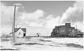 D&amp;RGW #497 with flanger #OI passing Mosca section house.<br /> D&amp;RGW  Mosca, CO  Taken by Richardson, Robert W. - 1/14/1949