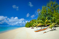 Polynesian canoe on Amuri Beach, Aitutaki Island, Cook Islands.