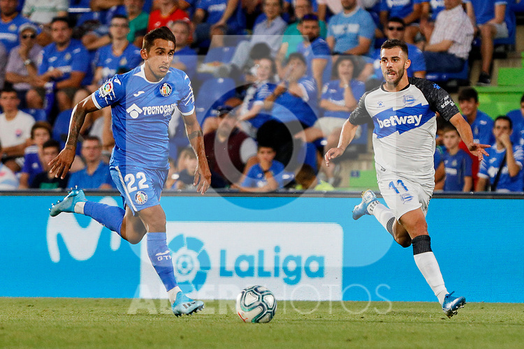 Damian Suarez of Getafe CF and Luis Rioja of Deportivo Alaves during La Liga match between Getafe CF and Deportivo Alaves at Colisseum Alfonso Perez in Getafe, Spain. August 31, 2019. (ALTERPHOTOS/A. Perez Meca)