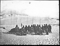 BNPS.co.uk (01202 558833)<br /> Pic: PenzanceAuctions/BNPS<br /> <br /> The crew attempted to reach the north Pole. <br /> <br /> Incredibly rare glass slides depicting the British expedition to the North Pole in 1875 have been found 140 years later.<br /> <br /> The remarkable images from the early days of photography depict the brave men and their Inuit guides who endured sub-zero temperatures to try to become the first to reach the pole in 1875.<br /> <br /> Photographers Thomas Mitchell and George White went on the failed expedition and now 42 of their glass slides have been found in a box during a house clearance in Cornwall.