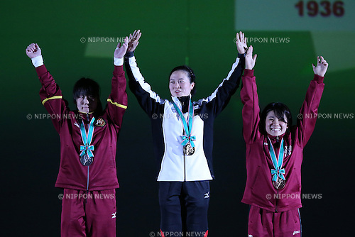 (L-R) <br /> Akane Yoshida, <br /> Mikiko Ando, <br /> Saya Uchikado, <br /> MAY 22, 2016 - Weightlifting : <br /> All Japan Weightlifting Championship 2016 Women's -58kg <br /> Award Ceremony at Yamanashi Municipal Gymnasium, Yamanashi, Japan. <br /> (Photo by AFLO SPORT)