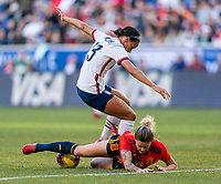 HARRISON, NJ - MARCH 08: Lynn Williams #13 of the United States fights for the ball with Mapi Leon #16 of Spain during a game between Spain and USWNT at Red Bull Arena on March 08, 2020 in Harrison, New Jersey.