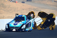 Jul. 26, 2014; Sonoma, CA, USA; NHRA funny car driver Jeff Diehl during qualifying for the Sonoma Nationals at Sonoma Raceway. Mandatory Credit: Mark J. Rebilas-