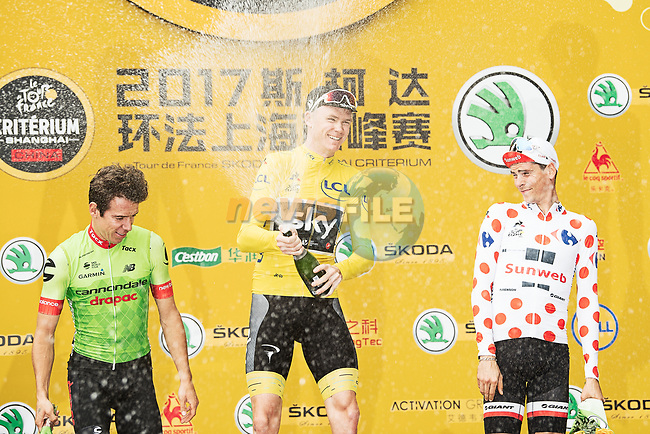 Christopher Froome (GBR) Team Sky wins from Rigoberto Uran (COL) Cannondale Drapac and Warren Barguil (FRA) Team Sunweb at the end of the 2017 Tour de France Skoda Shanghai Criterium, Shanghai, China. 29th October 2017.<br /> Picture: ASO/Pauline Ballet | Cyclefile<br /> <br /> <br /> All photos usage must carry mandatory copyright credit (&copy; Cyclefile | ASO/Pauline Ballet)