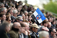 A Ban fan in the crowd waves a flag in support. Aviva Premiership match, between Worcester Warriors and Bath Rugby on April 15, 2017 at Sixways Stadium in Worcester, England. Photo by: Patrick Khachfe / Onside Images