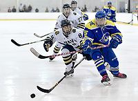 Delaware's Brian Ostrander (26) battles Navy's Jeffrey Wu (8) for a puck. Delaware defeated Navy 8-3 at McMullen Hockey Arena.<br /> <br /> Photo by Randy Litzinger