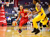 Washington, DC - June 15, 2018: Washington Mystics forward LaToya Sanders (30) drives to the basket during game between the Washington Mystics and Los Angeles Sparks at the Capital One Arena in Washington, DC. (Photo by Phil Peters/Media Images International)