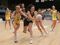 28.01.2017 Silver Ferns Mes Bailey in action during the Silver Ferns v Australian Diamonds netball test match played at the International Convention Centre studium in Durban, South Africa.<br />  Mandatory Photo Credit ©Reg Caldecott/Michael Bradley Photography.