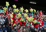 Welsh fans take their seat ready for the game - RBS 6Nations 2015 - Scotland  vs Wales - BT Murrayfield Stadium - Edinburgh - Scotland - 15th February 2015 - Picture Simon Bellis/Sportimage