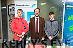 Aaron Roche (Tralee), John Doherty (Kerry ETB) and Mark Roche (Foilmore) at the ETB Apprenticeship Information evening at the Training Centre in Monavalley on Thursday.