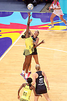 11.08.2015 Silver Ferns Leana de Bruin and Jamaica's Romelda Aiken in action during the Silver Ferns v Jamaica netball match at the 2015 Netball World Cup at All Phones Arena in Sydney Australia. Mandatory Photo Credit ©Michael Bradley.