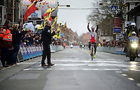 victory for Luca Paolini (ITA/Katusha) in this epic (extreme winds) 77th Gent-Wevelgem