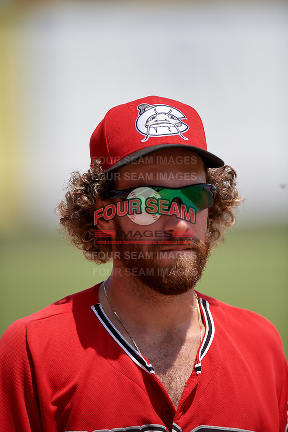 Carolina Mudcats Matt Hardy (25) during a Carolina League game against the Winston-Salem Dash on August 14, 2019 at Five County Stadium in Zebulon, North Carolina.  Winston-Salem defeated Carolina 4-2.  (Mike Janes/Four Seam Images)