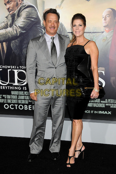 "Tom Hanks, Rita Wilson.""Cloud Atlas"" Los Angeles Premiere held at Grauman's Chinese Theatre, Hollywood, California, USA..October 24th, 2012.full length moustache mustache tie pattern facial hair grey gray white shirt black married husband wife clutch bag.CAP/ADM/BP.©Byron Purvis/AdMedia/Capital Pictures."