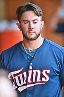 Elizabethton Twins Charlie Mack (27) during a game against the Kingsport Mets at Joe O'Brien Field on July 6, 2019 in Elizabethton, Tennessee. The Twins defeated the Mets 5-3. (Tony Farlow/Four Seam Images)