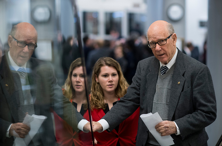 UNITED STATES - MARCH 14: Sen. Pat Roberts, R-Kan., arrives for the Senate Republicans' policy lunch in the Capitol on Tuesday, March 14, 2017. (Photo By Bill Clark/CQ Roll Call)