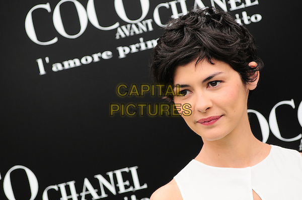 "AUDREY TAUTOU .Photocall for '""Coco avant Chanel"", Rome, Italy.May 6th, 2009.headshot portrait white .CAP/CAV.©Luca Cavallari/Capital Pictures."