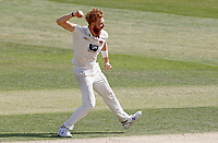 Ivan Thomas of Kent celebrates taking the wicket of Simon Harmer during Essex CCC vs Kent CCC, Bob Willis Trophy Cricket at The Cloudfm County Ground on 4th August 2020
