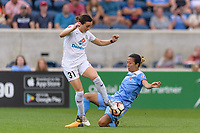 Bridgeview, IL - Sunday August 20, 2017: Christina Gibbons, Yuki Nagasato during a regular season National Women's Soccer League (NWSL) match between the Chicago Red Stars and FC Kansas City at Toyota Park. KC Kansas City won 3-1.