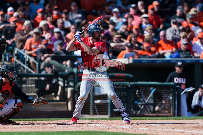 Gonzaga Bulldogs designated hitter Ryan Sullivan (40) at bat during a game against the Oregon State Beavers on February 16, 2019 at Surprise Stadium in Surprise, Oregon State defeated Gonzaga 9-3. (Zachary Lucy/Four Seam Images)