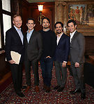 John Dickerson, Andy Blankenbuehler, Lin-Manuel Miranda, Alex Lacamoire and Thomas Kail from the 'Hamilton' creative team during a CBS Morning News interview taping with John Dickerson at The Library of Congress on December 2, 2018 in Washington, D.C.
