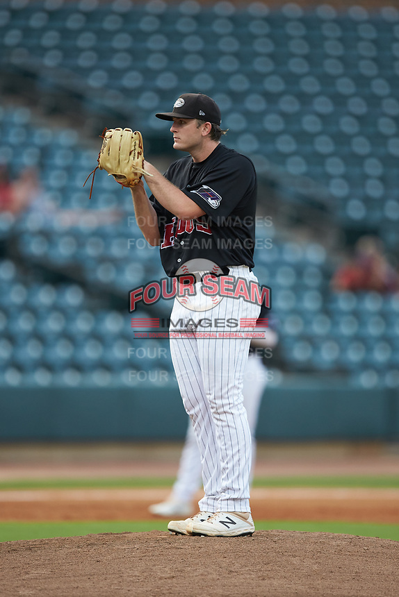 Winston-Salem Warthogs starting pitcher Konnor Pilkington (44) looks to his catcher for the sign against the Wilmington Blue Rocks at BB&T Ballpark on July 17, 2019 in Winston-Salem, North Carolina. The Blue Rocks defeated the Warthogs 4-1. (Brian Westerholt/Four Seam Images)