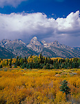 Grand Teton National Park, WY <br /> A stream flows through a grassy meadow at Blacktail Ponds with afternoon clouds gathering over the Teton Range in autumn.