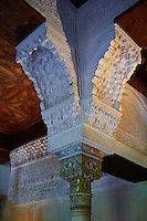 Detailof the Arabesque Moorish architectural pillar capital in the Mexuar administrative rooms in the Palacios Nazaries. Alhambra, Granada, Andalusia, Spain.