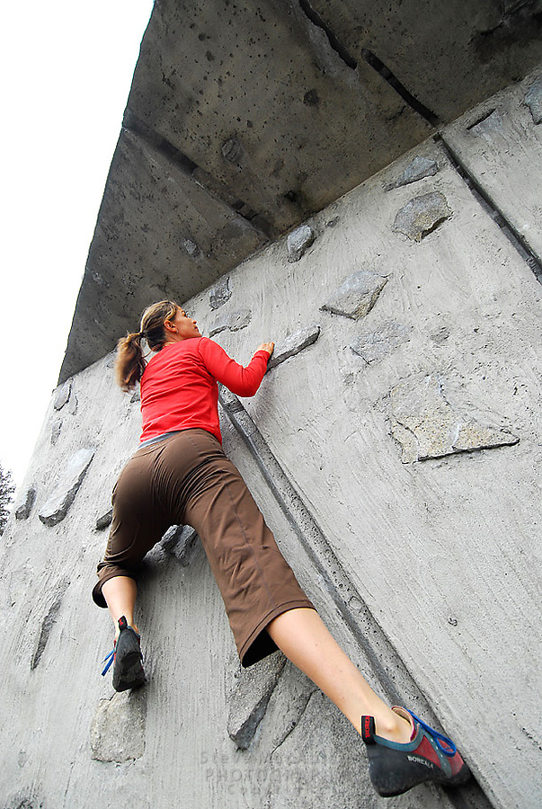 Rock CLimbing at the outdoor artificial climbing wall at the University of Washington, Seattle, WA.