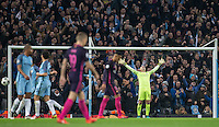 Goalkeeper Wilfredo Caballero of Manchester City celebrates as the final whistle is blown during the UEFA Champions League match between Manchester City and Barcelona at the Etihad Stadium, Manchester, England on 1 November 2016. Photo by Andy Rowland / PRiME Media Images.