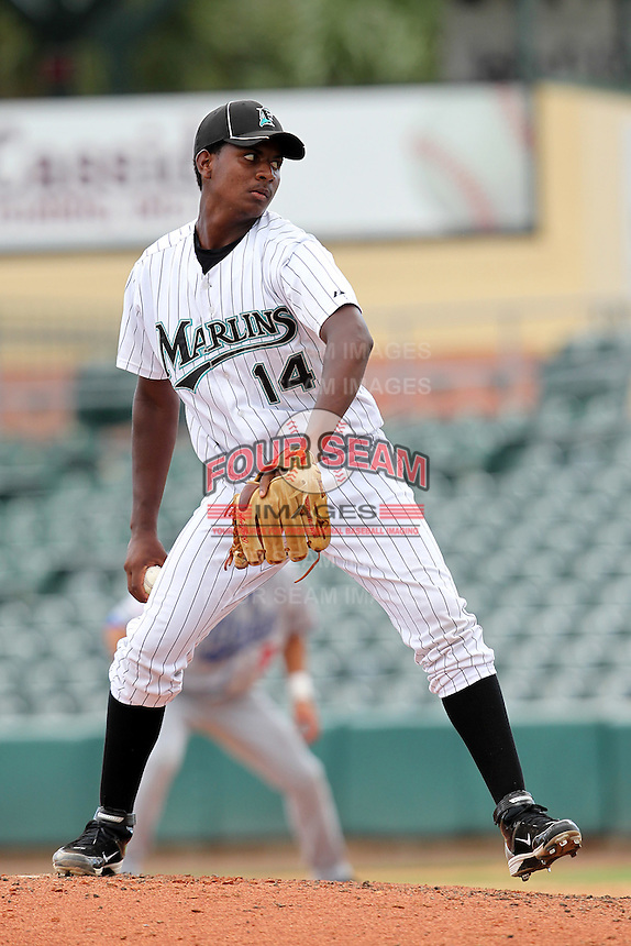 Pitcher Andy Beltre #14 of the Florida Marlins instructional League team during a game against the Italian National Team at the Roger Dean Stadium in Jupiter, Florida;  September 27, 2011.  Italy is training in Florida for the Baseball World Cup.  (Mike Janes/Four Seam Images)