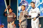 Kim Seung-keun, Jeong Keun-Woo and Ahn Young-myung, Mar 28, 2016 : South Korean baseball team Hanwha Eagles' manager Kim Seung-keun (C), second baseman and shortstop Jeong Keun-Woo (L) and right-handed starting pitcher Ahn Young-myung pose during a media day and fanfest of 10 clubs in the Korea Baseball Organization (KBO) in Seoul, South Korea. (Photo by Lee Jae-Won/AFLO) (SOUTH KOREA)