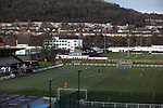 Gala Fairydean Rovers 4, Gretna 1, 25/01/2020. Netherdale, Scottish Lowland League. First-half action as Gala Fairydean Rovers (in red) host Gretna 2008 in a Scottish Lowland League match at Netherdale, Galashiels, with the adjoining rugby ground simultaneously hosting a Scottish National League 1 match between Gala RFC and Heriot's FP. The home club were established in 2013 through a merger of Gala Fairydean, one of Scotland's most successful non-League clubs, and local amateur club Gala Rovers. The visitors were a 'phoenix' club set up in the wake of the collapse of the original club, which had competed for a short time in the 2000s before going bankrupt. The home aside won this encounter 4-1 watched by a crowd of 120. Photo by Colin McPherson.