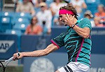 August 15,2018:   Alexander Zverev (GER) loses to Robin Haase (NED) 5-7, 6-4, 7-5, at the Western & Southern Open being played at Lindner Family Tennis Center in Mason, Ohio.  ©Leslie Billman/Tennisclix/CSM